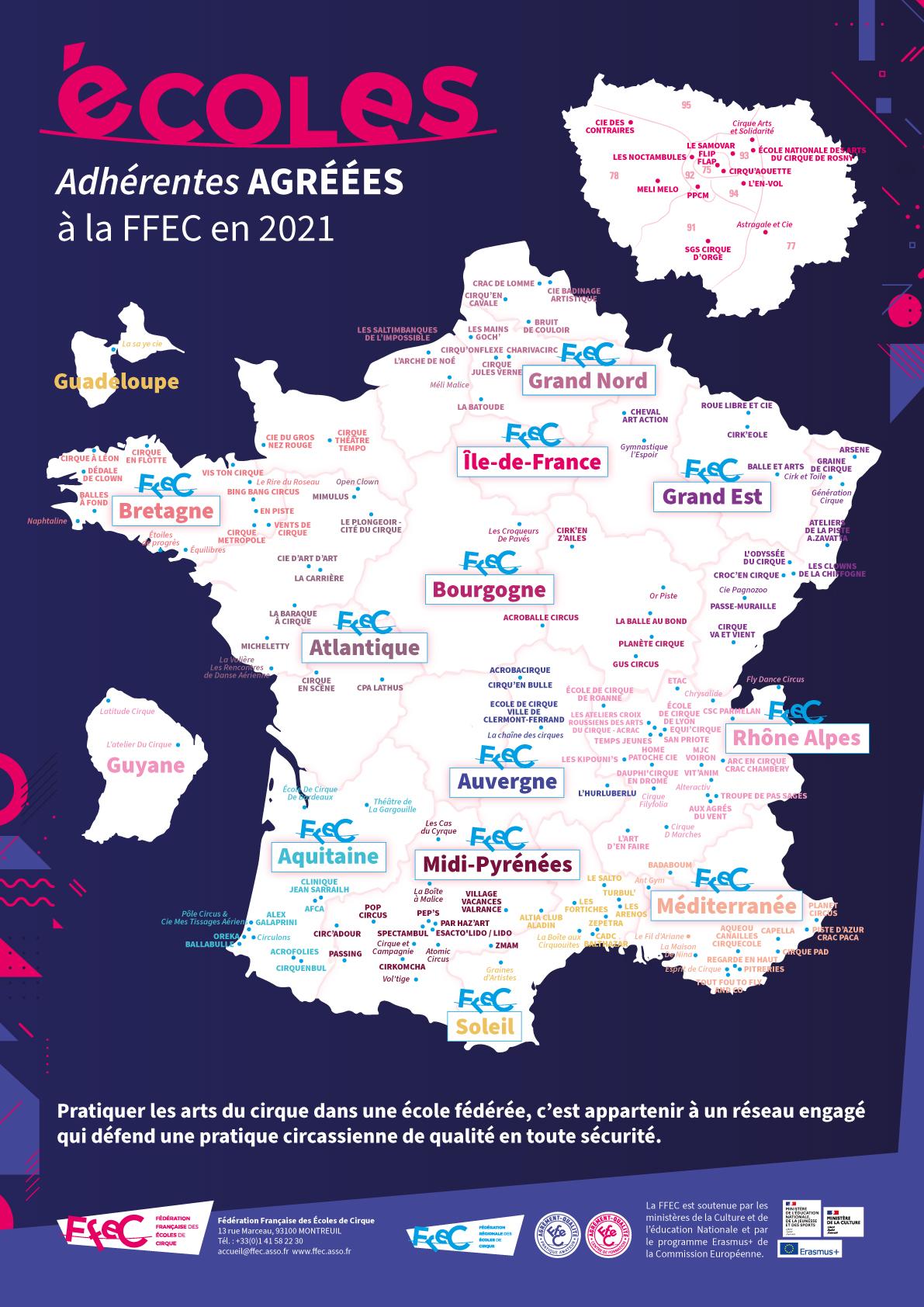 Affiche carte des écoles adhérentes en 2021